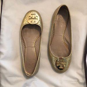 Tory Burch Metallic Gold Ballet Flats